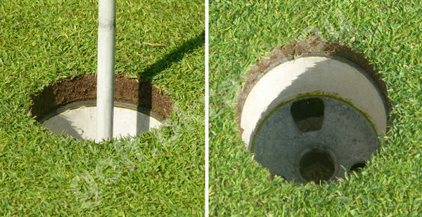 Hole on the putting green