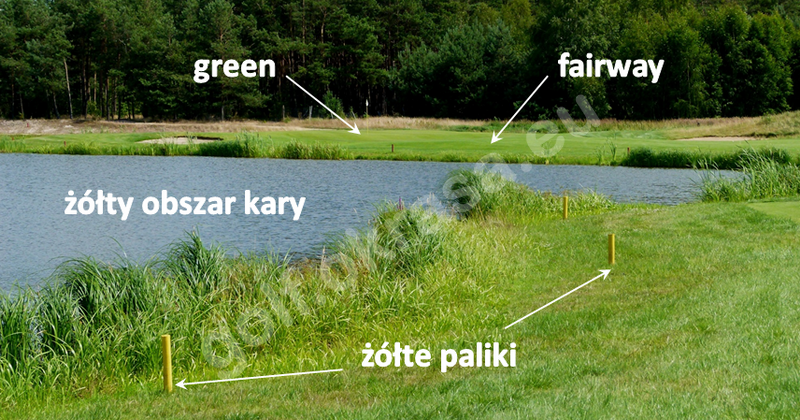 Obszar kary żółty poprzeczny w golfie