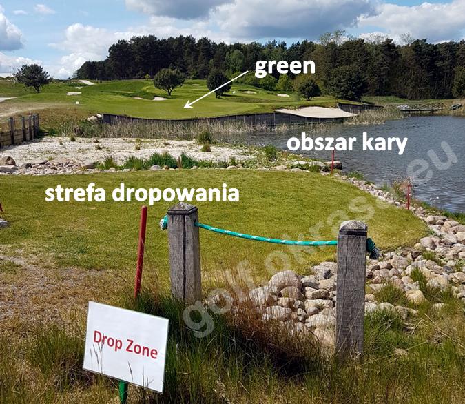 strefa dropowania w golfie, dropping zone na polu golfowym