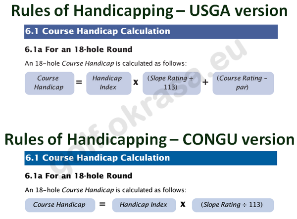 Course Handicap USGA vs CONGU